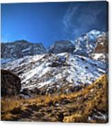 Annapurna Trail With Snow Mountain Background In Nepal Canvas Print