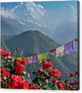 Annapurnas And Prayer Flags Canvas Print