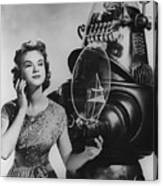 Anne Francis Movie Photo Forbidden Planet With Robby The Robot Canvas Print