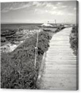 Another Asilomar Beach Boardwalk Black And White Canvas Print