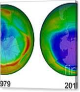 Antarctic Ozone Hole, 1979 And 2015 Canvas Print
