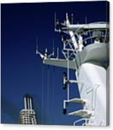 Antennas And Chimneys On A Large Ferry Canvas Print