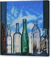 Antique Bottles At Dawn Canvas Print