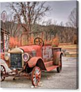 Antique Car And Filling Station 1 Canvas Print