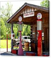 Antique Car And Filling Station 2 Canvas Print