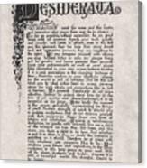 Antique Florentine Desiderata Poem By Max Ehrmann On Parchment Canvas Print