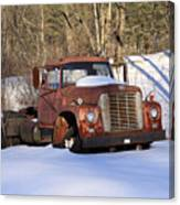 Antique Grungy Truck In Snow Canvas Print