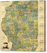 Antique Map Of Indianapolis By The Parry Mfg Company - Historical Map Canvas Print