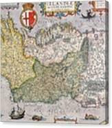Antique Map Of Ireland Canvas Print