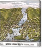 Antique Map Of Mystic Connecticut Canvas Print