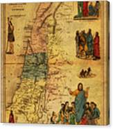 Antique Map Of Palestine 1856 On Worn Parchment Canvas Print