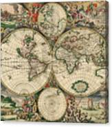 Antique Map Of The World - 1689 Canvas Print