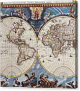 Antique Maps Of The World Joan Blaeu C 1662 Canvas Print