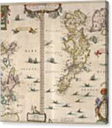 Antique Maps - Old Cartographic Maps - Antique Map Of Schetland And Orkney Islands - Scotland,1654 Canvas Print