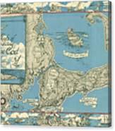 Antique Maps - Old Cartographic Maps - Antique Map Of Cape Cod, Massachusetts, 1945 Canvas Print