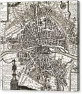 Antique Maps - Old Cartographic Maps - Antique Map Of Paris, France, 1643 Canvas Print