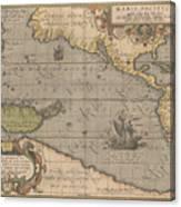 Antique Maps - Old Cartographic Maps - Antique Map Of The Pacific Ocean - Mar Del Zur, 1589 Canvas Print