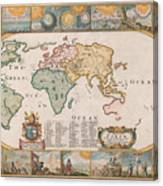 Antique Maps - Old Cartographic Maps - Antique Map Of The World Canvas Print