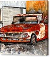 Antique Old Truck Painting Canvas Print