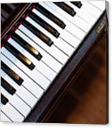 Antique Piano Keys From Above With Hardwood Floor Canvas Print