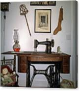 antique Singer sewing machine with treadle Canvas Print