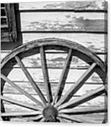 Antique Wagon Wheel In Black And White Canvas Print