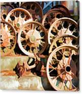 Antique Wagon Wheels And Baskets Canvas Print
