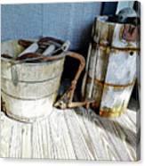 Antique Wooden Buckets Canvas Print