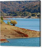 Aoos Lake Shore In Epirus, Greece Canvas Print