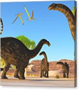 Apatosaurus Forest Canvas Print