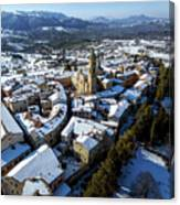 Apiro Italy In The Snow - Aerial Image. Canvas Print
