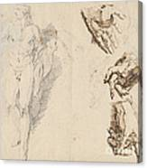 Apollo And Studies Of The Artist's Own Hand [recto] Canvas Print