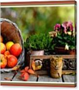 Apple Basket And Other Objects Still Life L B With Alt. Decorative Ornate Printed Frame. Canvas Print