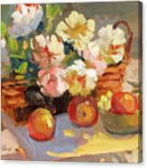 Apples And Peonies Canvas Print