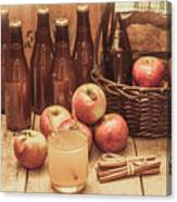 Apples Cider By Wicker Basket On Wooden Table Canvas Print