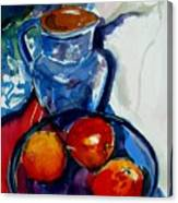 Apples In Glass Bowl Canvas Print