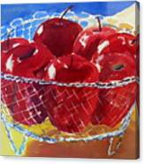 Apples In Wirebasket Canvas Print
