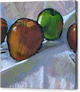 Apples On Cloth Canvas Print