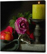 Apples Rose And Candlestick On Tray Stl712923 Canvas Print