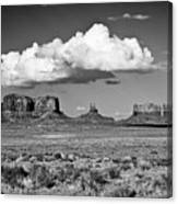 Approaching Monument Valley Black And White Canvas Print