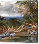 Approaching Storm In A Wooded Landscape Canvas Print