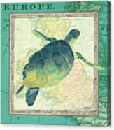 Aqua Maritime Sea Turtle Canvas Print