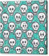 Aqua Skull Pattern Canvas Print