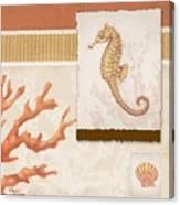 Aquarius I Coral Square Canvas Print