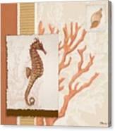Aquarius II Coral Square Canvas Print