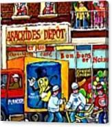 Arachides Depot Candy Shop Painting Rue De L'eglise Verdun Montreal Hockey Art Carole Spandau        Canvas Print