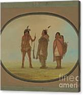Arapaho Chief, His Wife, And A Warrior Canvas Print
