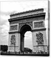 Arc De Triomphe In Black And White Canvas Print
