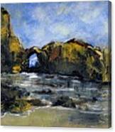 Arch At Pearl Beach Over Cast Canvas Print