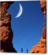 Arch In Canyon Rock Formations Silhouetter Of Hiker Canvas Print